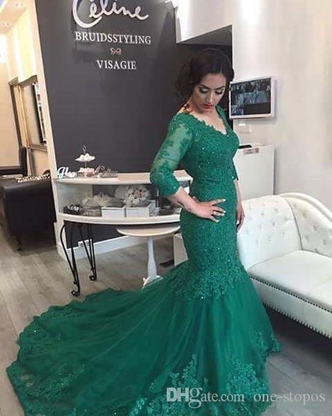 2017 arapça uzun kollu hunter yeşil mermaid gelinlik modelleri dantel aplikler boncuklu v yaka örgün akşam partisi törenlerinde artı b ...