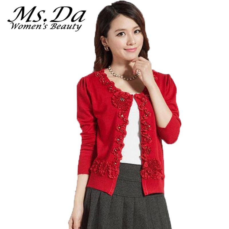 2bd71c1db6534 2019 Wholesale 2016 Womens Plus Size Sweater Cardigans Winter Floral  Embroidery Woman Casual Sweater Coat Tops Red