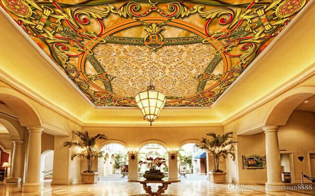 3D комната пейзаж потолок обои на заказ фото настенная роспись 3d потолок европейская архитектура обои гостиная 3D потолок