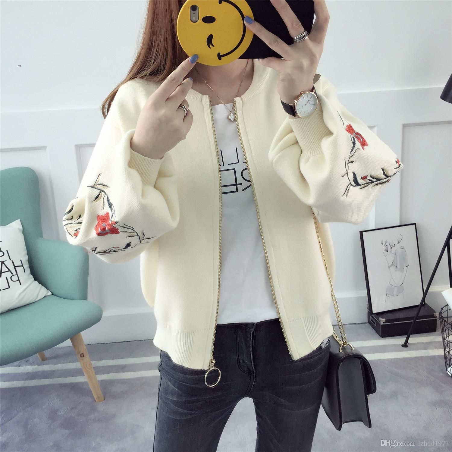 2018 New Arrivals 2017 Women Spring Sweater Cardigans Embroidery ...