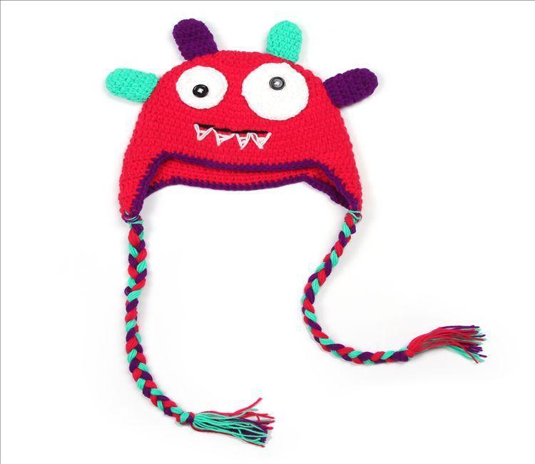 Yeni 2016 Sevimli canavar tarzı şapka Bebek Şapkalar Çocuklar Kap Moda El Örme Caps Erkek Kız Yün Kap Bebek Tığ Şapka Çocuk ...