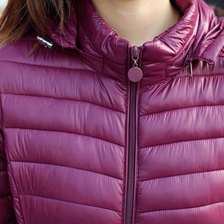 BOoDinerinle Plus Size jaqueta das mulheres Chapéu pode ser desmontado leve pluma jaqueta de algodão jaqueta de inverno fino casaco Básico MY005