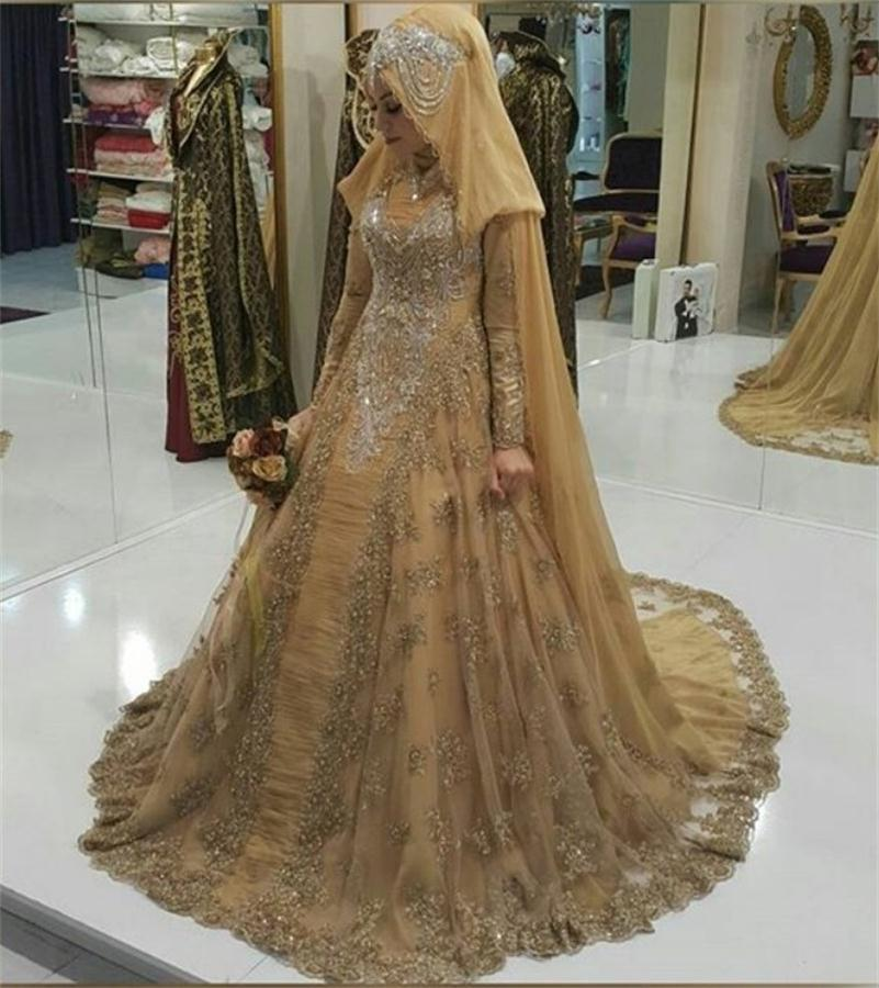 2017 Muslims Wedding Dresses Long Sleeves Ball Gown Crystal ...