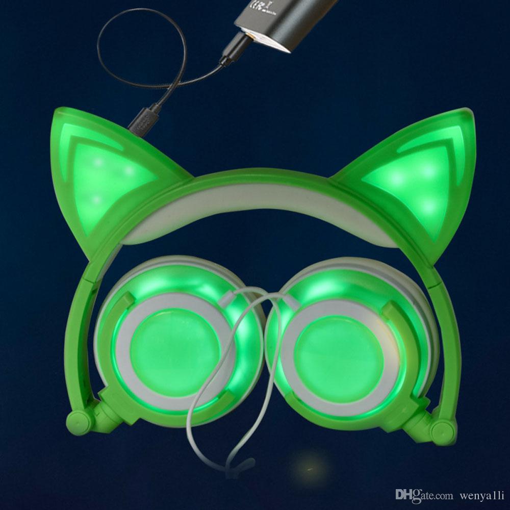 Nowe słuchawki do uszu Katowe Słuchawne Słuchawne LED Gaming Lights Lights USB Ładowarka Słuchawki Słuchawki dla dzieci, Kompatybilny z telefonem iOS