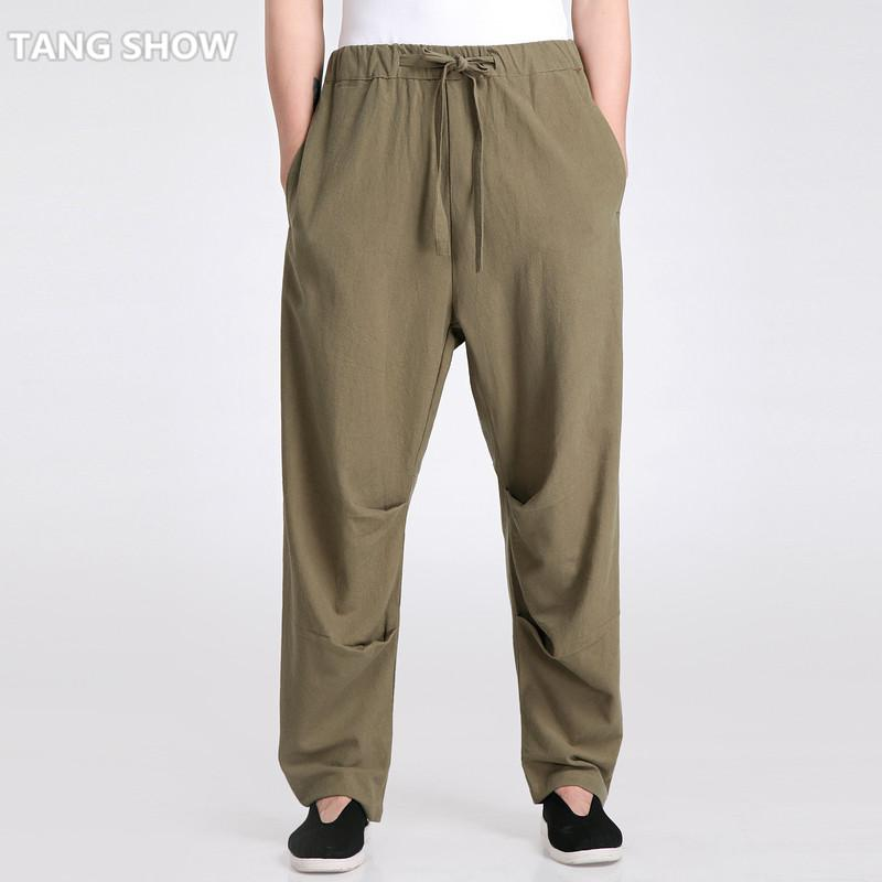 be598034e0e54 2019 Wholesale Army Green Chinese Men S Tai Chi Trousers Cotton Linen Kung  Fu Pants Male Tai Chi Loose Pant Size S M L XL XXL XXXL 2601 From Jingju