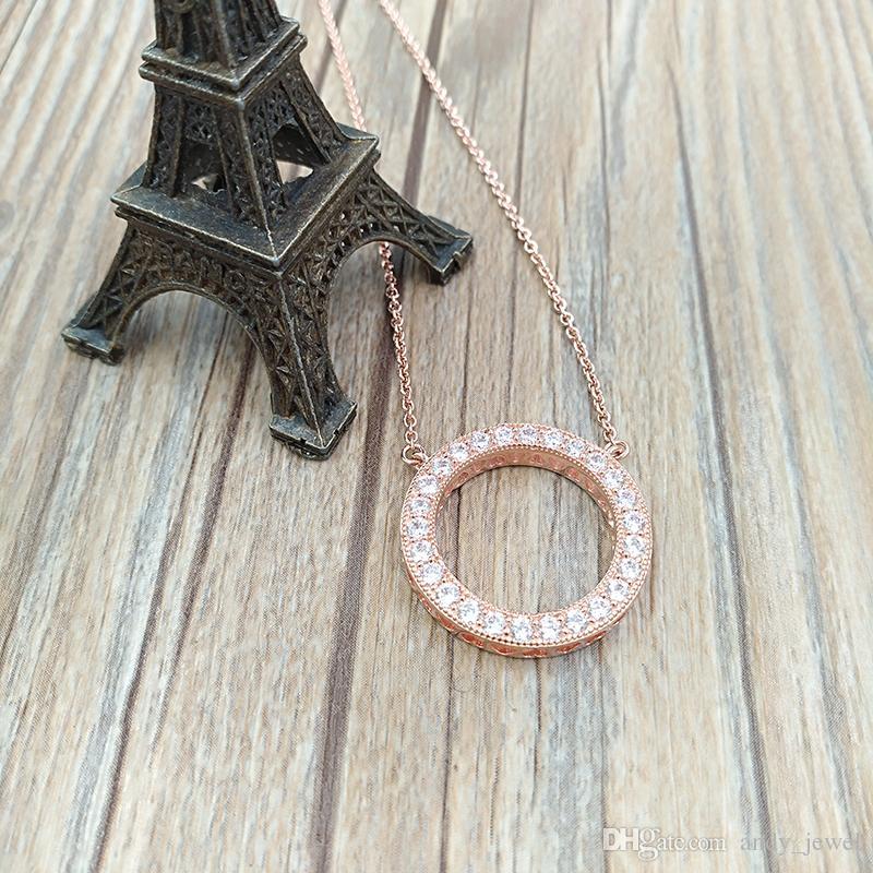 Kadınlar için Kristal kolye kolye Fit Avrupa Pandora Stil Takı 580514CZ Rose Gold Kaplama Of Otantik 925 Gümüş Boncuk Kalpler