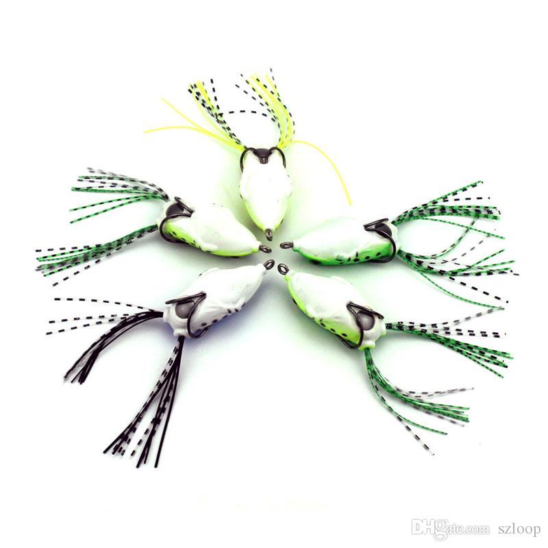 5 pz Soft Tube Bait Plasthing Fishing Eles Frog Lure Treble Hooks Mini Frog Lure Bait 5.5cm 8g Artificiale esca morbida all'ingrosso