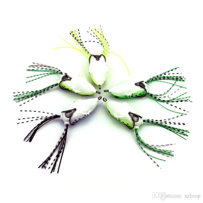 cebo de tubo suave señuelos de pesca de plástico señuelo de rana anzuelos triples mini cebo de señuelo de rana 5.5 cm 8g cebo suave artificial 2508041