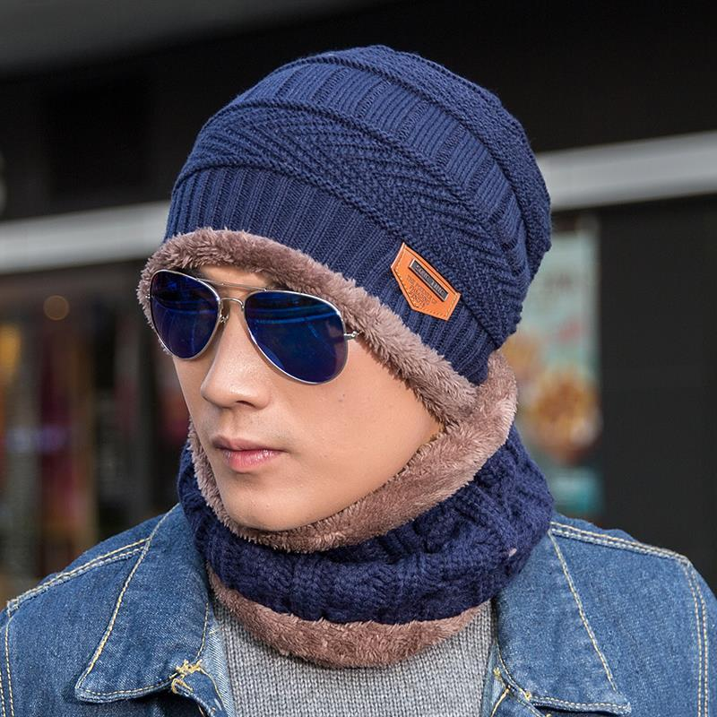 2019 Winter Hat Scarf Set Men Knitted Cap With Velvet Warm Hat Thickening  Suit From Iqy021 47bc278d047