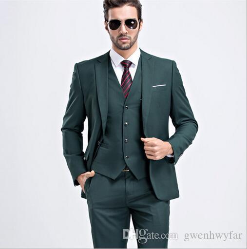 ee7be268637ea Satın Al Erkekler Slim Fit Koyu Yeşil Takım Elbise 2017 Moda Bir Düğme Erkek  Takım Elbise Damat Smokin Groomsmen İyi Adam Düğün Takımları Ceket +  Pantolon + ...