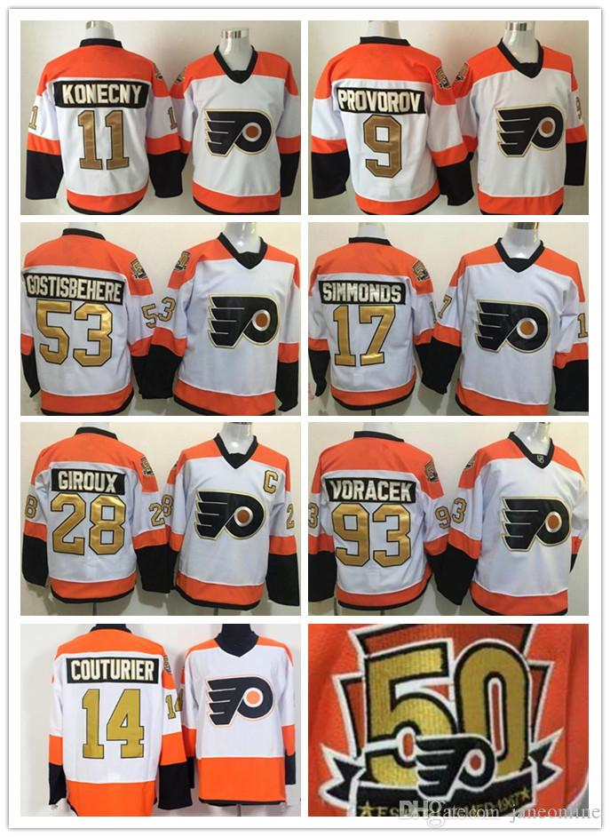 quality design 6ebad 77cf1 11 Travis Konecny Jersey Philadelphia Flyers 50th Anniversary Jerseys 9  Ivan Provorov 14 Couturier 53 Shayne Gostisbehere Simmonds Gold