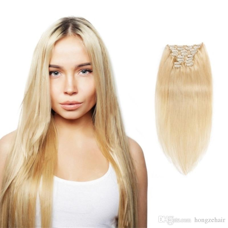 613 Blonde Clip In Human Hair Extensions 70 Grams 7p Brazilian Remy