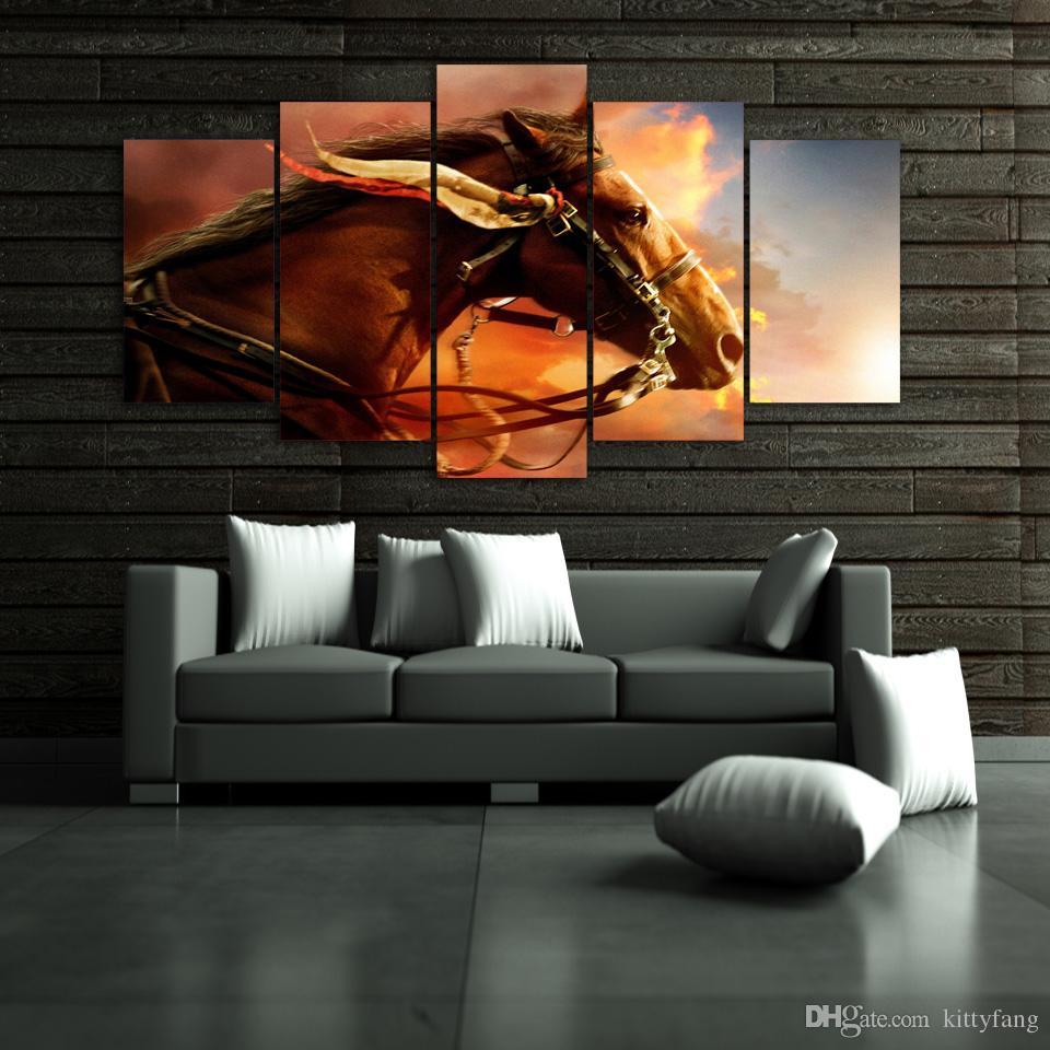 5 Teile / satz Gerahmte HD Gedruckt Sunset Horse Tier Wandkunst Leinwanddruck Poster Leinwand Bilder Moderne Malerei