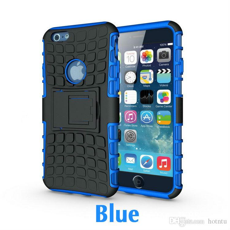 For iPhone 7 7Plus 6 6s Plus Slim Armor Defender Case Tire Grain TPU Shockproof Holster Back Cover Free Screen Film