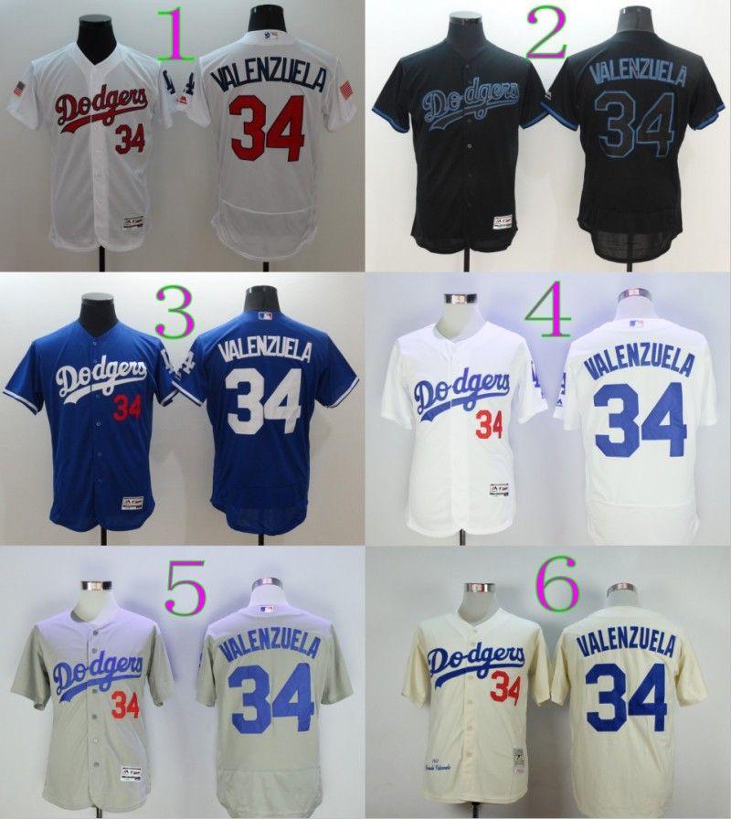 ... 2017 Wholesale Baseball 34 Fernando Valenzuela Jersey Cream White  Flexbase Los Angeles Dodgers Vintage Jerseys Cooperstown ... 19554582f