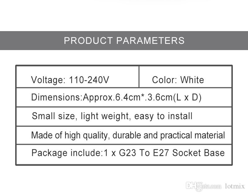 Excellent Quality G23 To E27 Base Socket CFL LED Halogen Light Bulb Lamp Adapter Holder Converter 110-240V