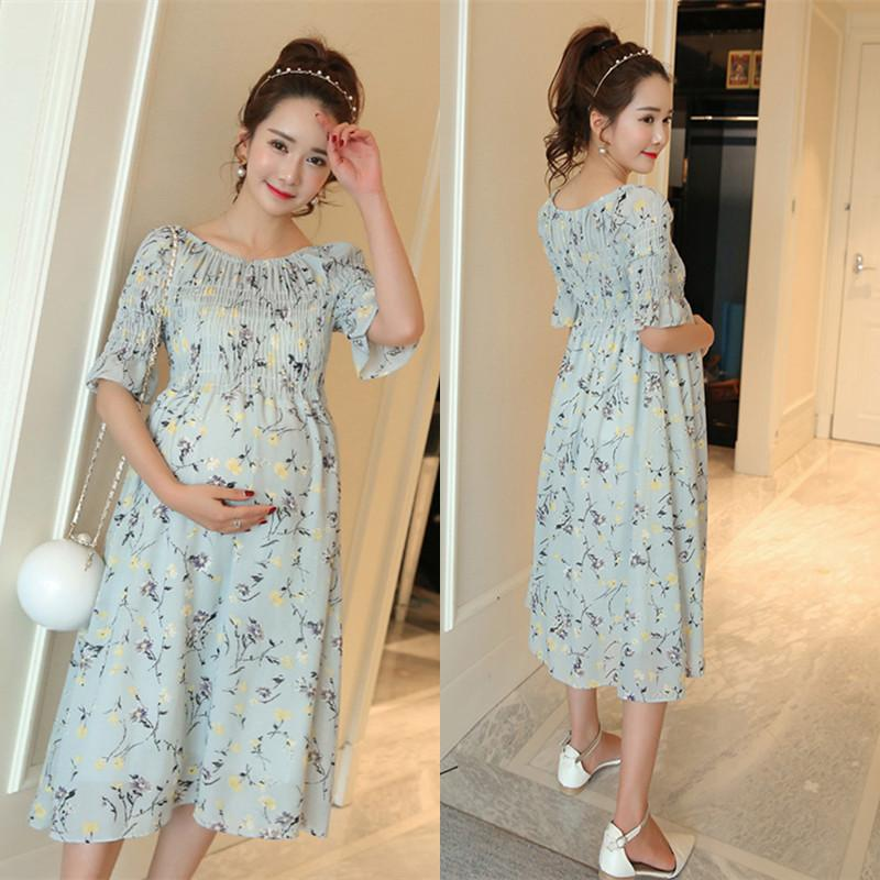 541c2c542a698 2019 805# Stretch High Waist Maternity Long Dress Elegant Printed Chiffon  Clothes For Pregnant Women Summer Beach Pregnancy Clothing From Soling, ...