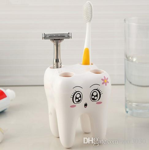 Bathroom Accessories Holder 2017 cartoon toothbrush holder teeth style 4 hole stand tooth