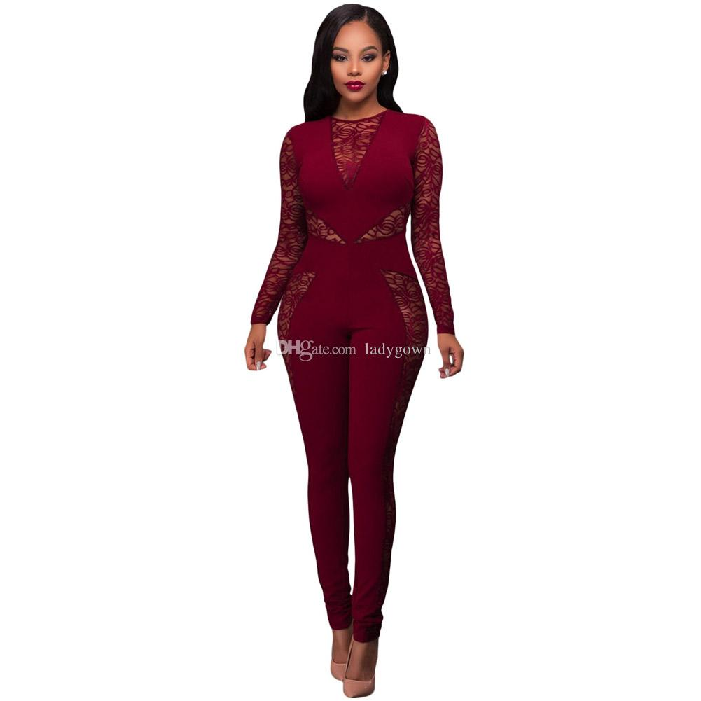 cdcd5eaa4dd6 2018 Jumpsuits For Women African Laces Fabrics Sexy Lace Jumpsuit Women  Black Mesh Patchwork .