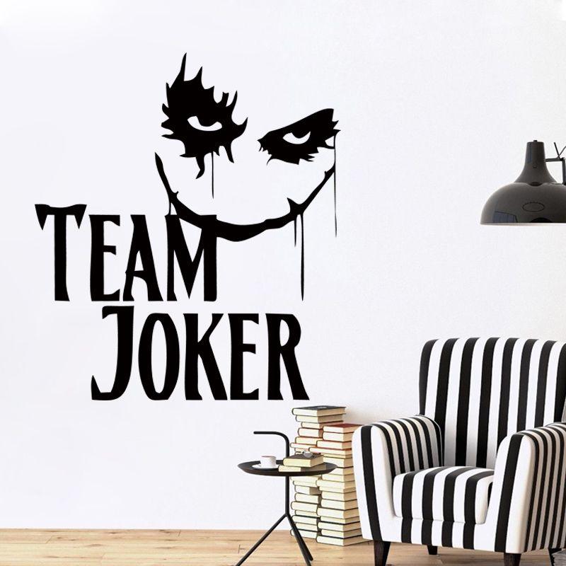 New Design Wall Decal Vinyl Motivation Quote with Horror Joker Face Bedroom  Art Home Decor Mural DIY