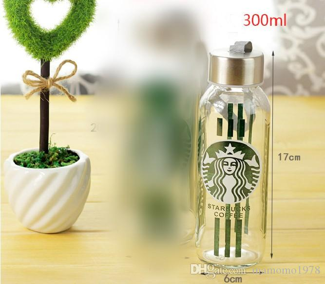 Venda quente 300ml garrafa de água portátil à prova de vazamento copo esportes garrafa de vidro com corda c copo de água Garrafa J3059