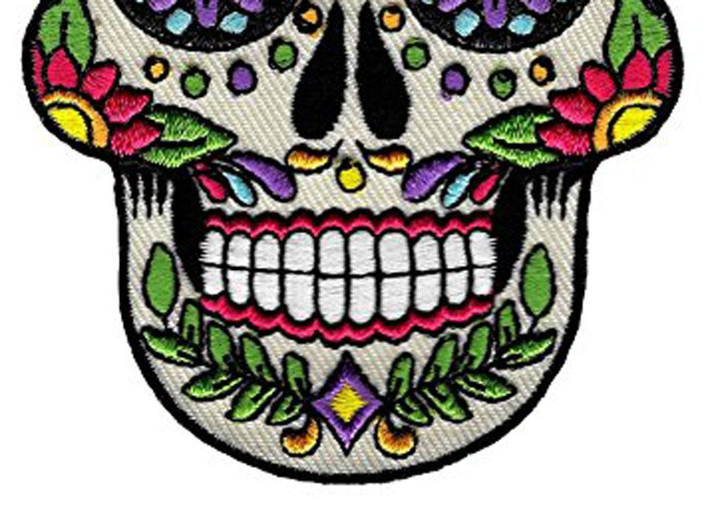 Low Price Custom Sugar Skull Calavera Patch Embroidered Iron-On Skeleton Day of the Dead Emblem