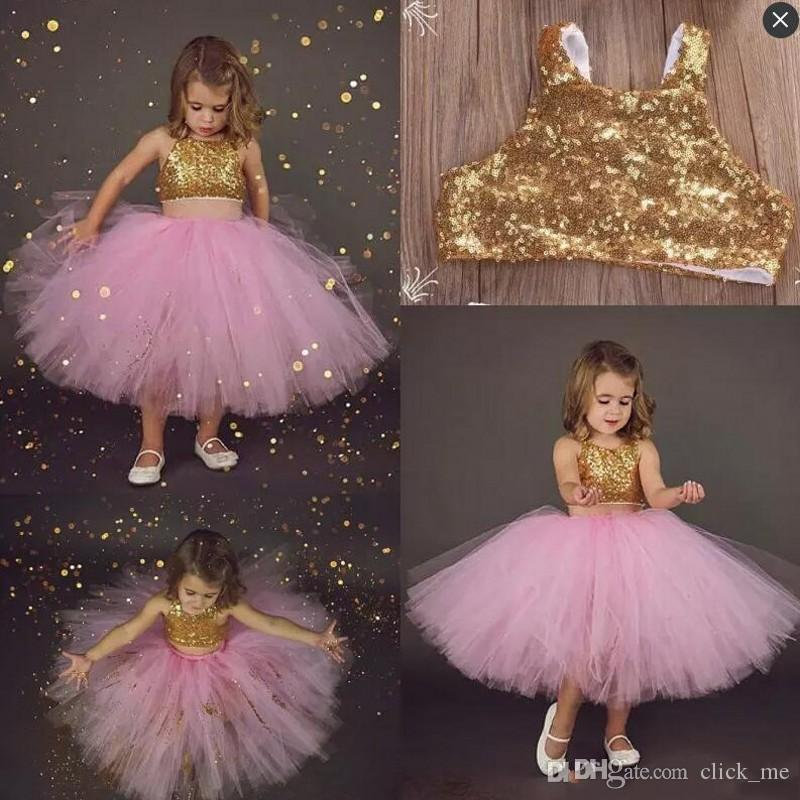 65f25fef3 Pink Two Pieces Flower Girls Dresses For Toddler Sequined Gold Top ...