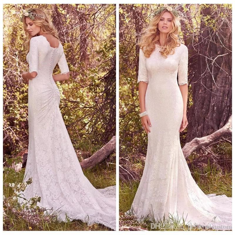 2017 Simple Full Lace Mermaid Modest Wedding Dress Slim Custom Half ...