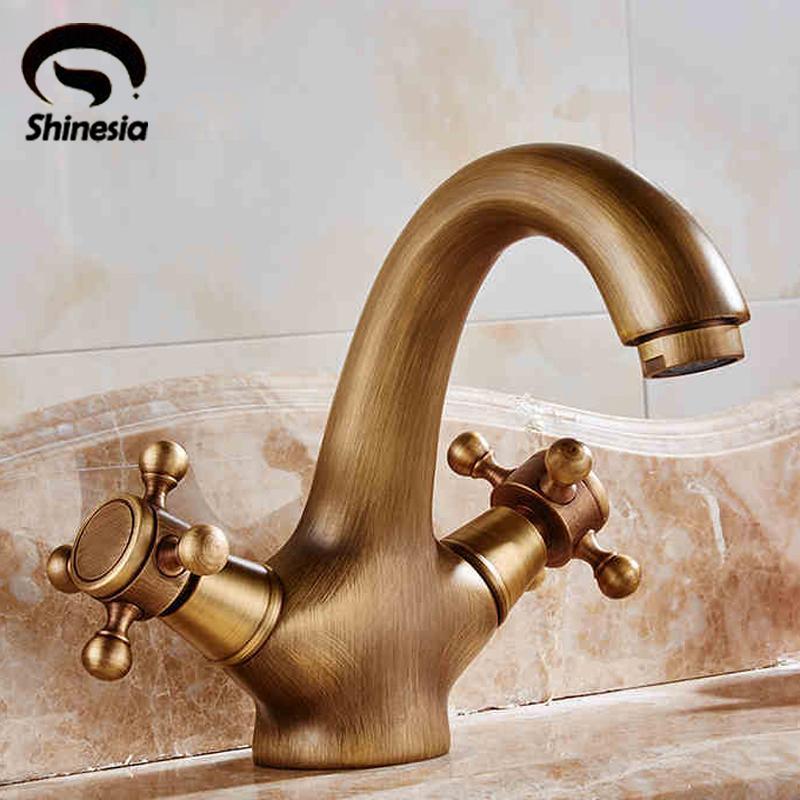 2018 Wholesale Antique Brass Bathroom Sink Faucet Basin Mixer Tap ...