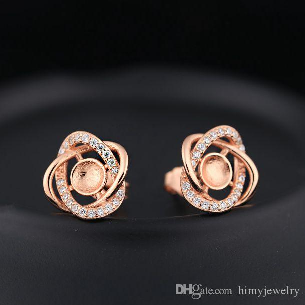 Sterling Silver 925 Plated Rose Gold Crystal Stud Earrings Pearl or Round Bead 5-6mm Semi Mount Fine Jewelry Setting