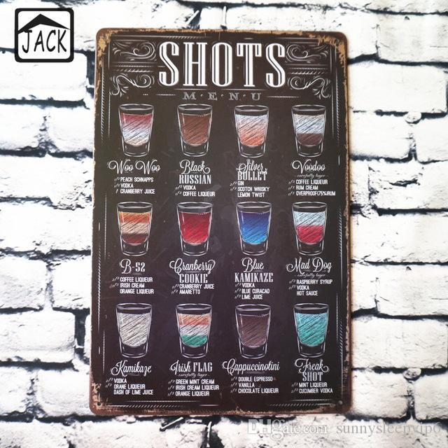 d193068ea18 2019 Drink Menu 20x30cm Retro Plaque Advertising Paintings Shop Chic Home  Bar Wall Decor Vintage Poster Metal Tin Signs From Sunnysleepvip6