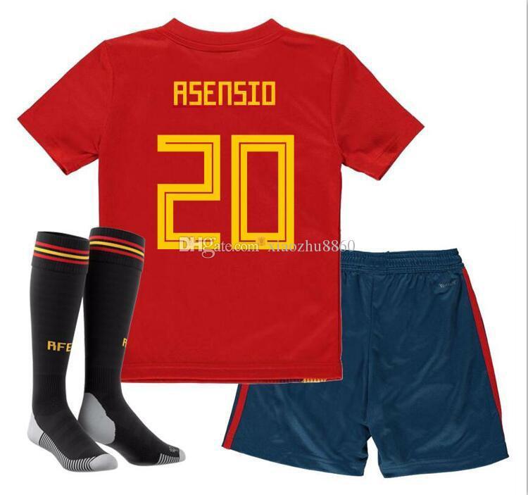 860242e9b9beb Tailandia KIDS España Camisetas De Fútbol 2018 Copa Del Mundo Kits De  Fútbol Para Niños Uniformes Con Calcetines Camisetas De Futbol MORATA  ASENSIO ISCO ...