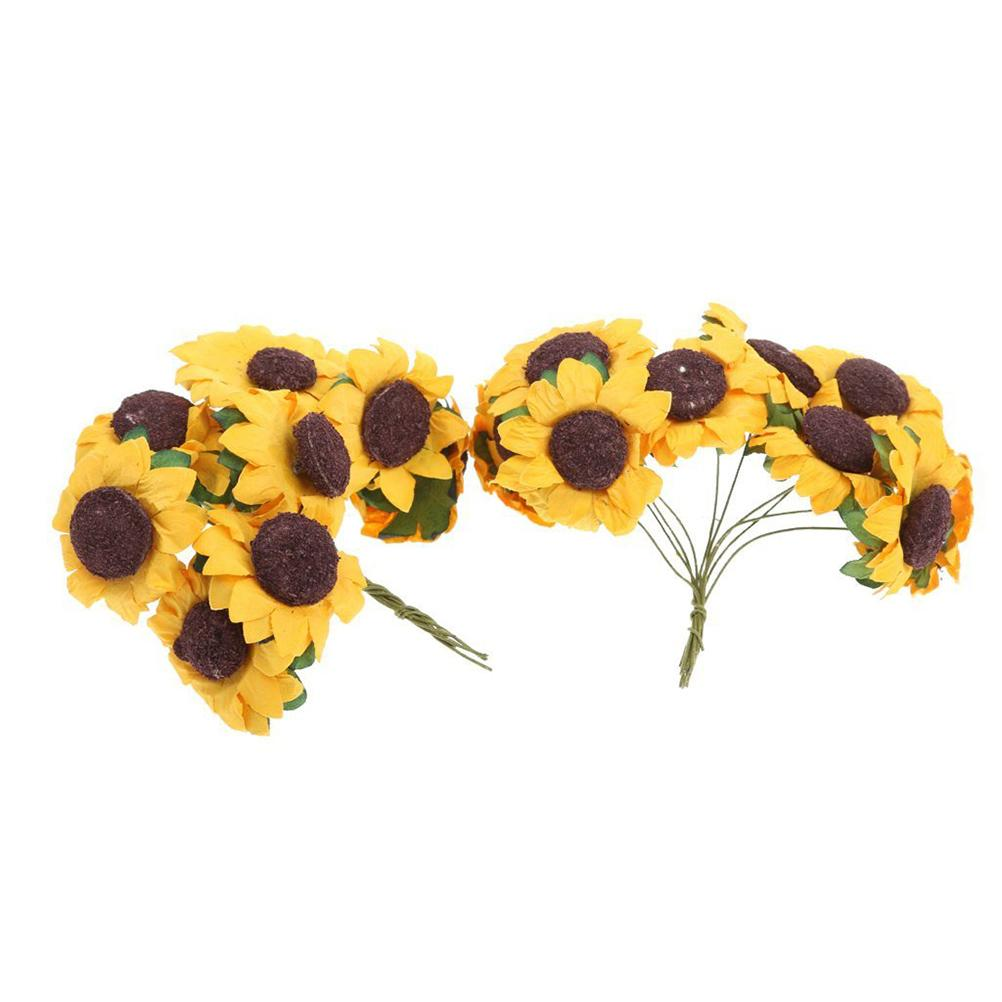 Wholesale- 100pcs Chic Mini carta artificiale girasole carta di nozze decor mestiere di paesaggio accessori (giallo)