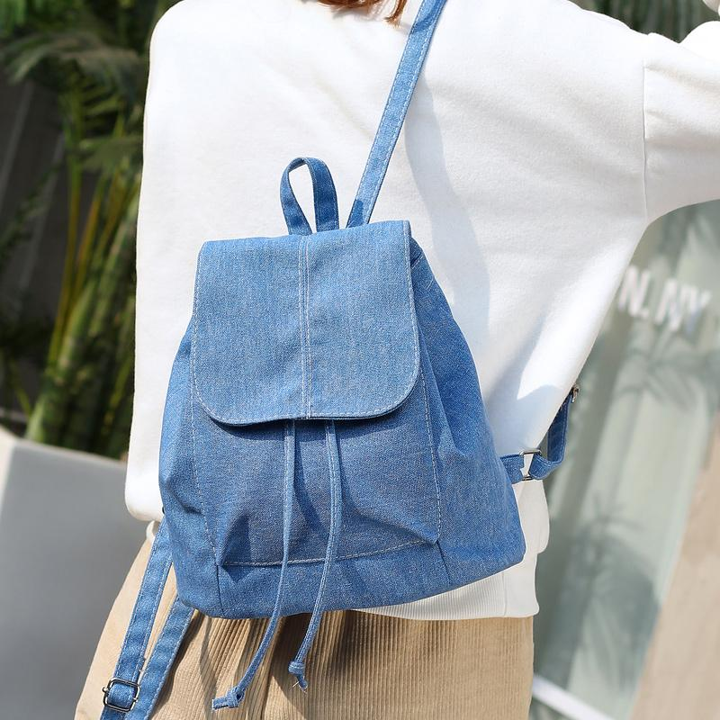 Womens Summer Preppy Style Casual Popular Soft Demin Canvas String ...