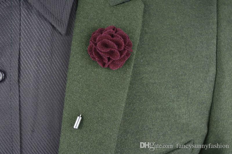 exquisite flower brooch lapel pins handmade boutonniere stick with woolen fabric flowers for gentleman's suit wear men accessories wholesale