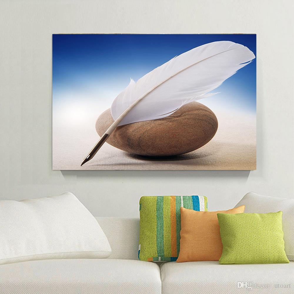 White Feather Pen Canvas Painting Home Decor Canvas Wall Art Picture