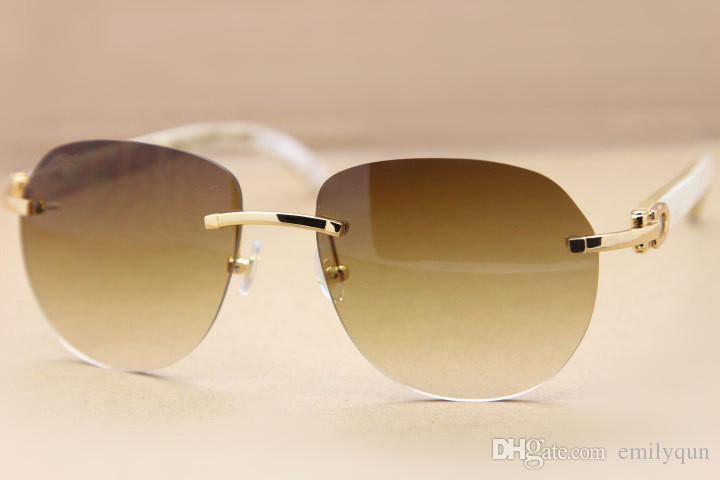 Famosa Marca Designer Sunglassses Genuine Branco Natural Búfalo Chifre Óculos Sem Aro Óculos De Sol 8300729 para Homens Mulheres com Caixa Original