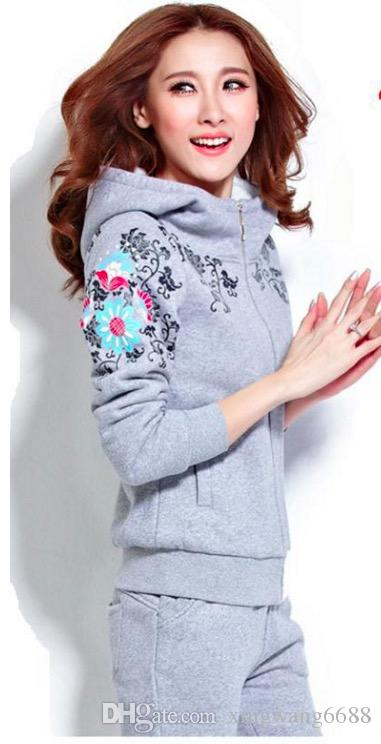 winter plus cashmere gray blue red lady fashion female two piece set top and pants tracksuit women hoodies suits Trouser Sweater fleece