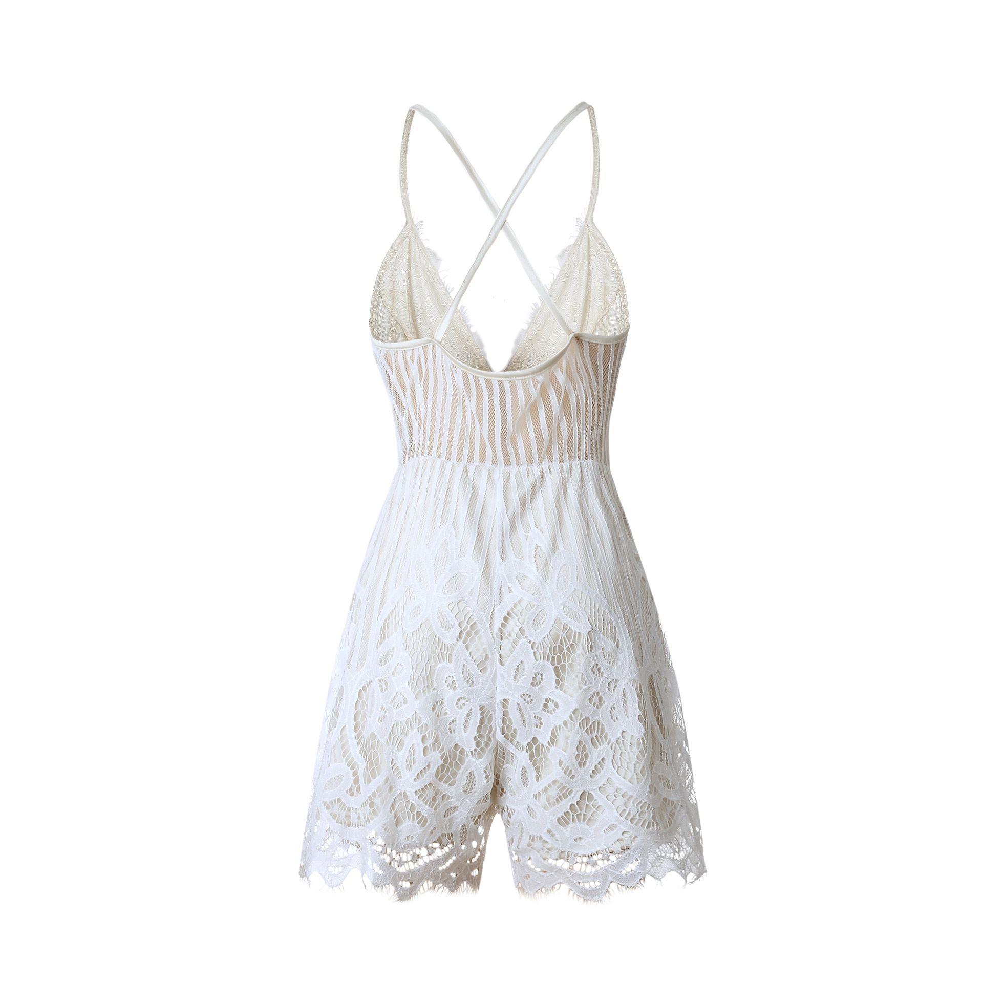 Ladies Cami Spaghetti Strap Pullover Lace Smocked Summer V-Neck Sleeveless Romper Womens V-Neck Playsuit Jumpsuit Crochet Siamese Shorts