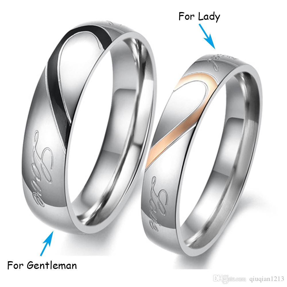 2018 Rose Gold Black Couples Rings Heart Shaped Real Love