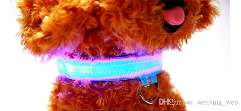 Pet Dog Collar LED Flash Collars 7Colors 5Sizes Night Safety LED Light Flashing Glow Nylon Pet Dog Collar Free DHL