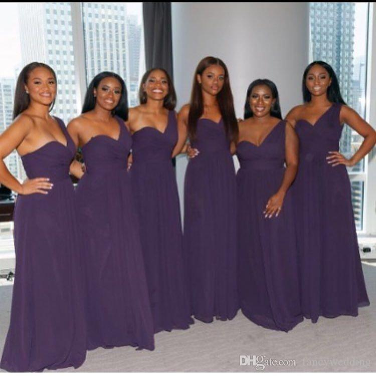 Purple 2016 Cheap Bridesmaid Dresses One Shoulder Draped A Line ...
