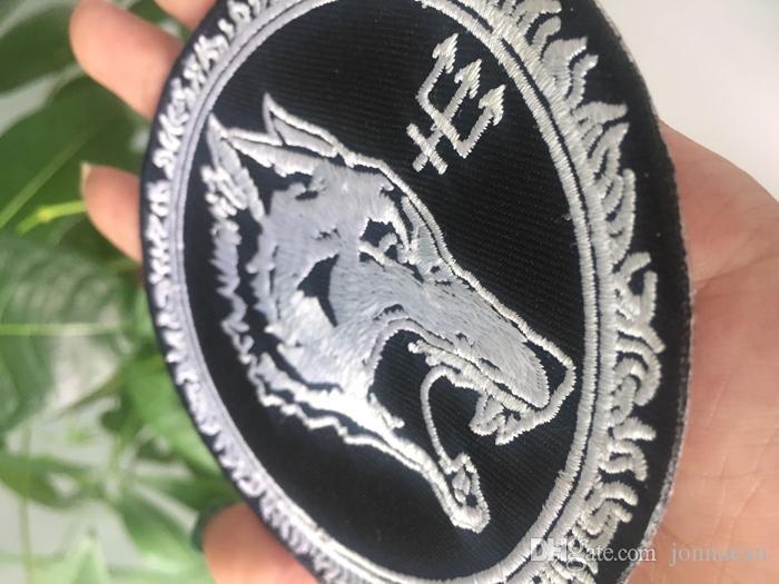Personalizzato LUNGO LUPO Ricamato il Ferro Sul Patch Vest Giacca di Pelle Distintivo Ricamo 4