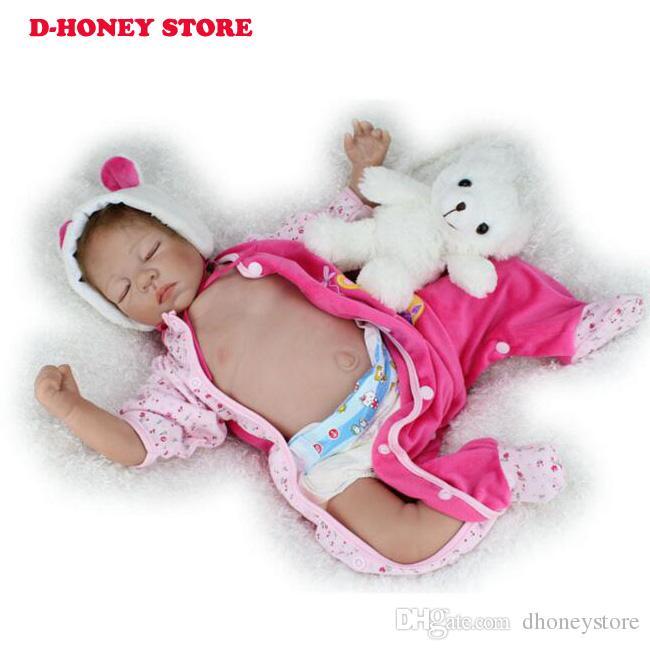 55 centímetros de silicone suave Renascer bonecas Realistic boneca reborn 22 polegadas completa Vinil renascido boneca para meninas