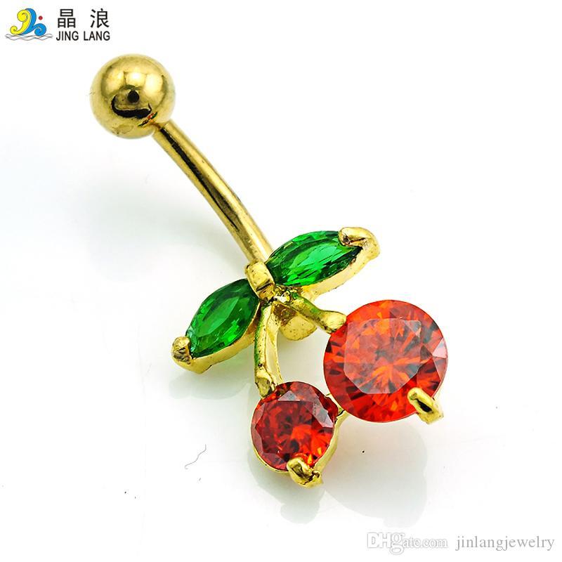Promozione! Di nuovo arrivo di alta qualità di modo rosso strass ciliegia ombelico anelli monili del corpo delle donne