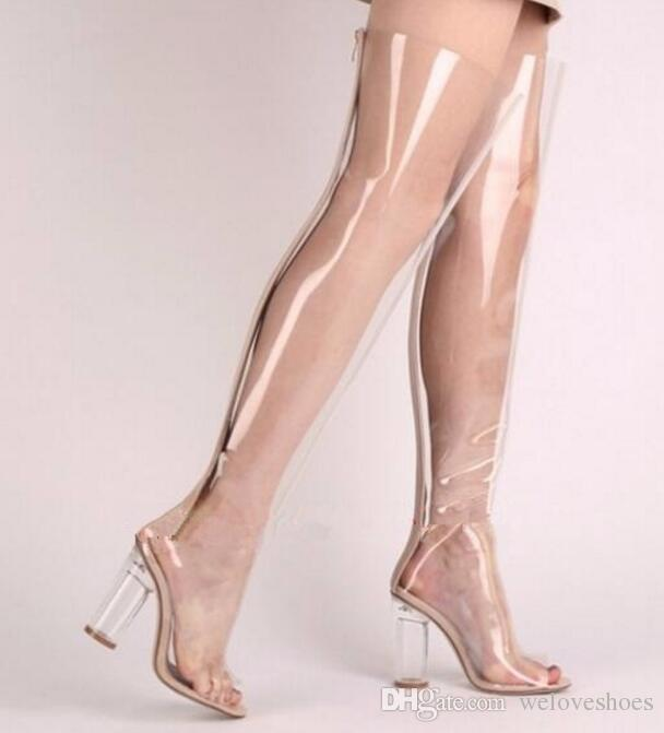 2017 nouvelles femmes sur le genou haute bottes en PVC clair talon peep toe bottines bottillons à talons chunky robe chaussures haut gladiateur sandales bottes femme