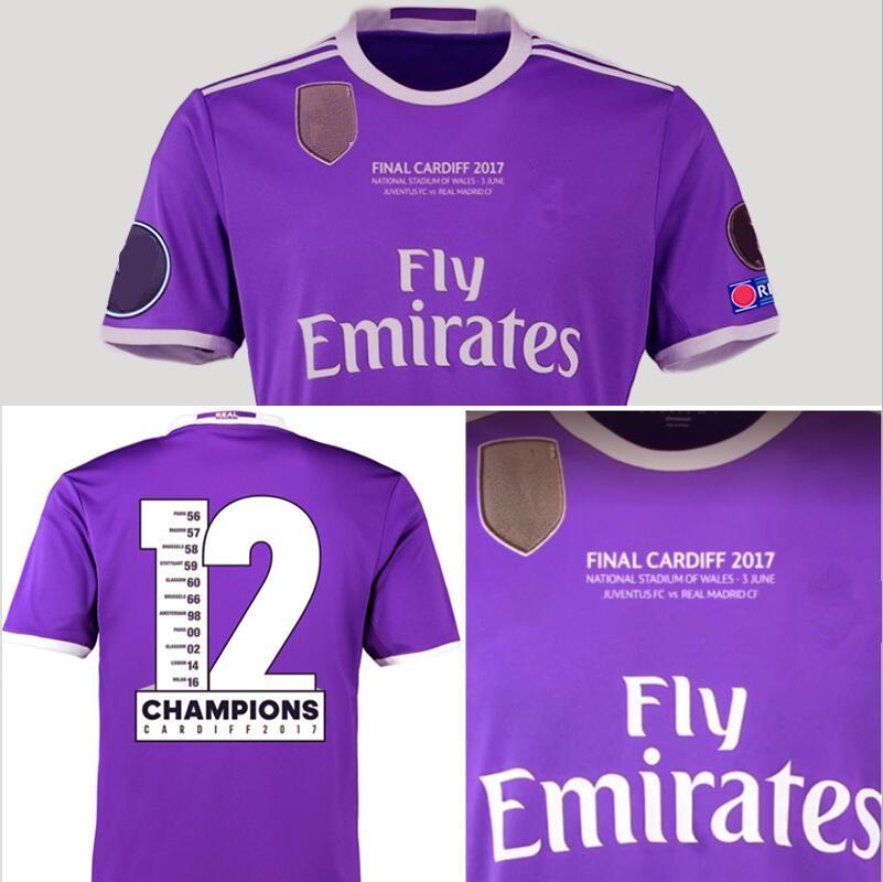 efe0de08e ... 2017 Real Madrid 12 Champion League Final Cardiff 2017 2018 Soccer  Jersey Juve Vs Madrid Benzema ...