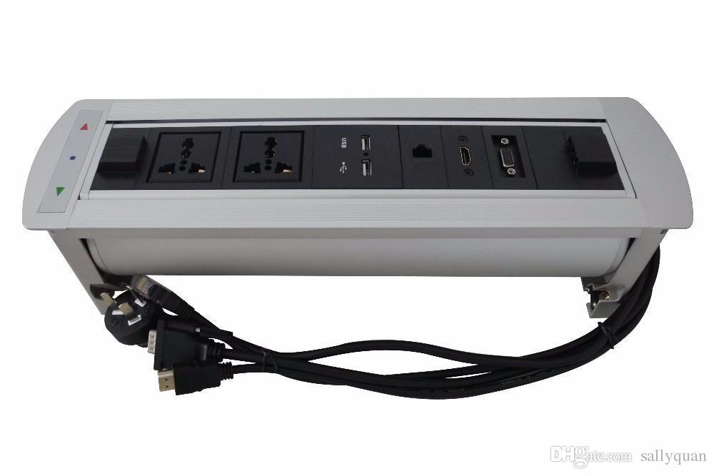 2017 New Multimedia RCA network motorized rotation audio socket made of aluminum alloy panel AU /UK/EU/USA plug