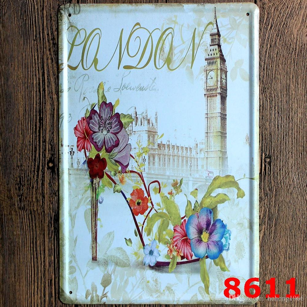 Retro Building Statue Metal Tin Sign 20*30cm Iron Paintings Goddess Of Victory Eiffel Tower Paris Tin Poster Red Telephone Booth 4rjee