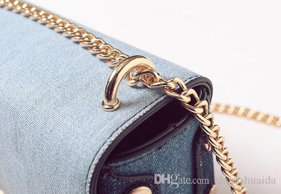 2017. Lock catch. Small. Mini. New pattern. Fashion casual bag. Denim. Metal chain. Women's Bags. Girl. Cross Body.Shoulder Bags. Soft.